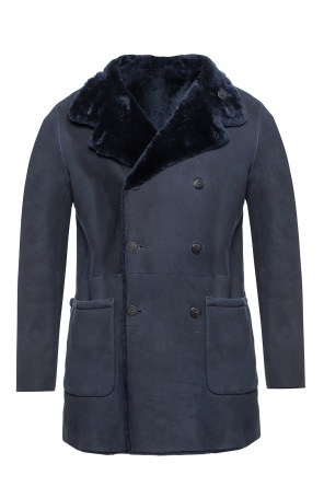 Reversible double-breasted shearling jacket od Giorgio Armani